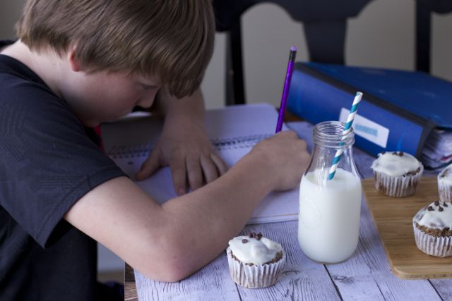 homework with milk snack