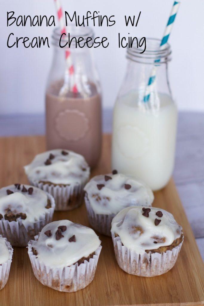 banana muffins with cream cheese icing.