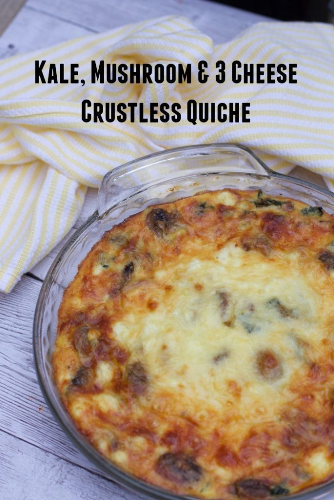 Crustless 3 Cheese, Mushroom & Kale Quiche Recipe - Close ...