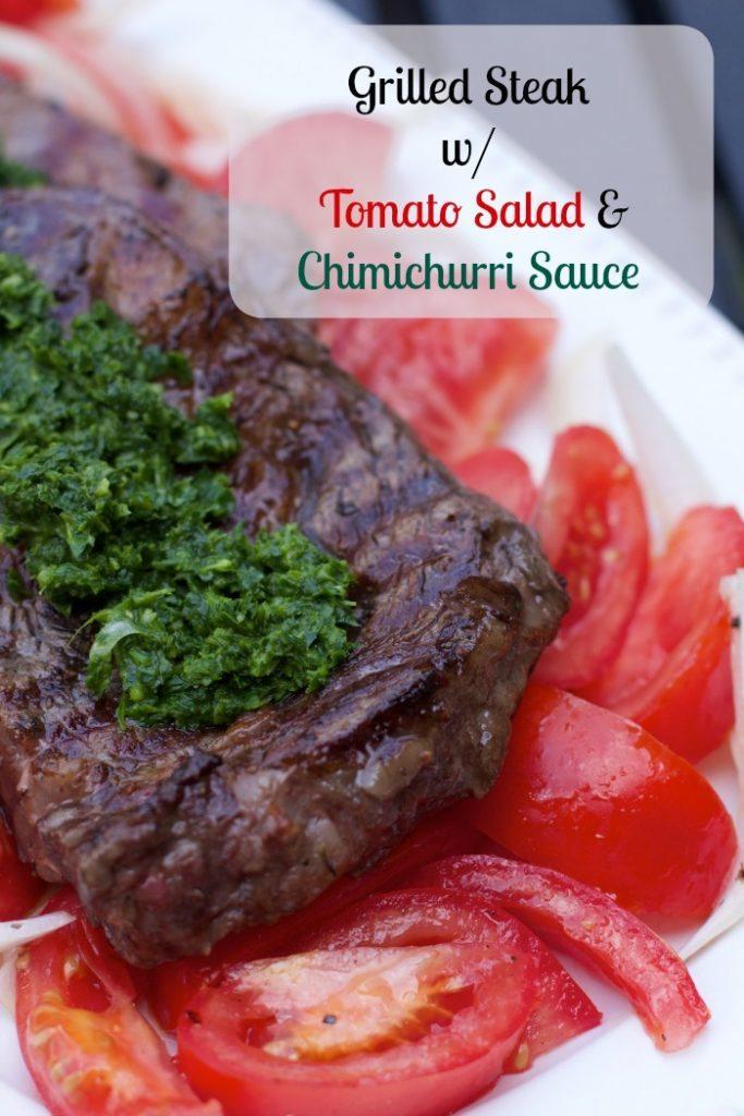 Grilled rib-eye w Tomato Salad & Chimichurri Sauce