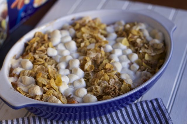 Sweet Potato Casserole with crunchy topping