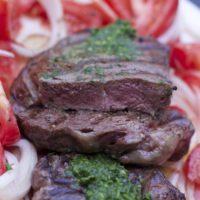 Grilled Rib-eye with Tomato Salad & Chimichurri Sauce