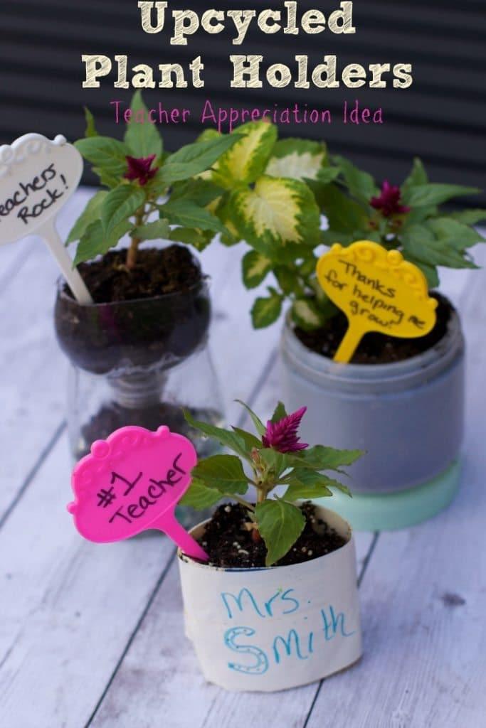 teacher appreciation idea-recycled planters