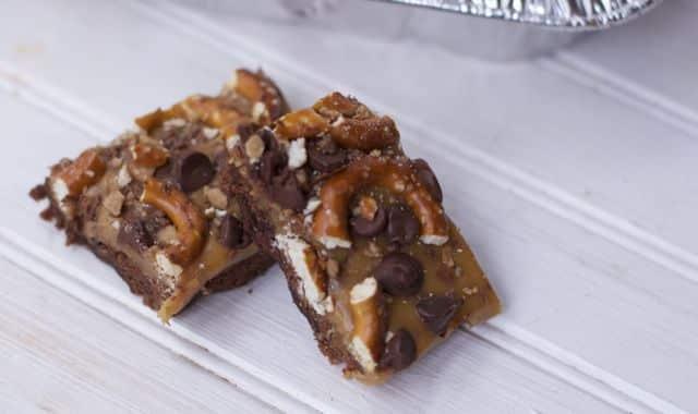 Caramel and Pretzel Brownies