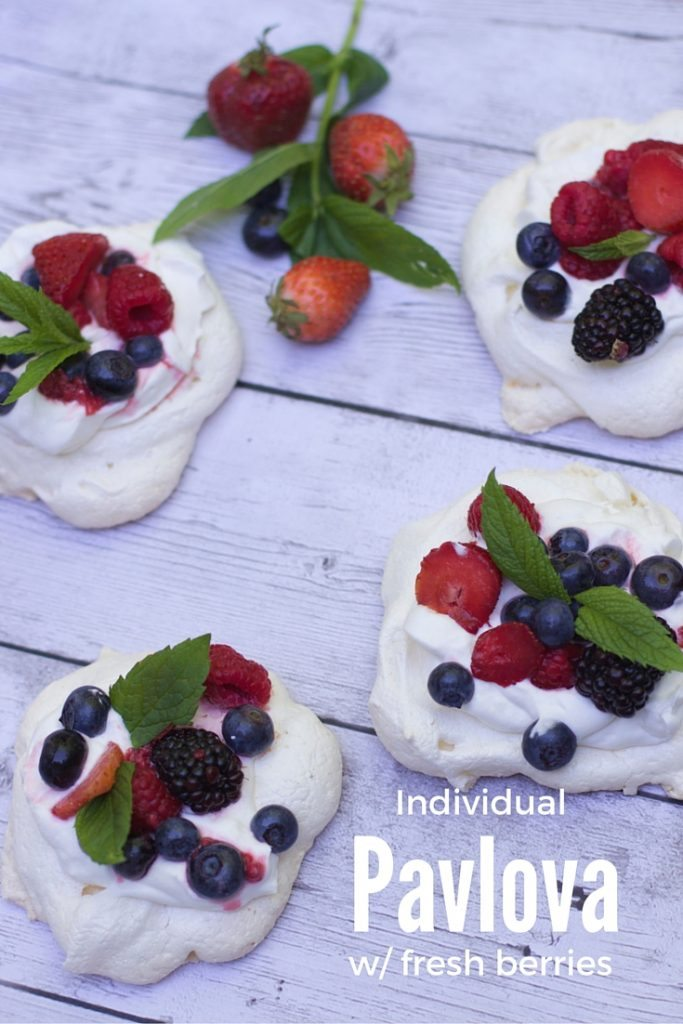 Pavlovas with mixed berries a great fourth of july dessert