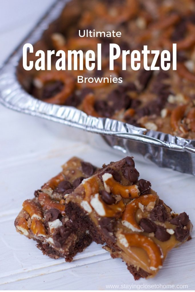 the ultimate brownie recipe check out these Caramel Pretzel Brownies