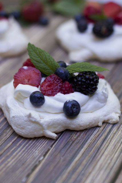 individual pavlovas with mixed berries a great fourth of july dessert