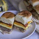 Bacon sausage breakfast sliders are the perfect solution to brunch or hungry kids.