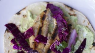 Easy Grilled Fish Tacos with Avocado Cream and Red Cabbage slaw