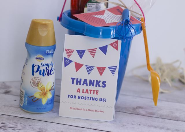 The perfect hostess gift for summer stays. Give your overnight host breakfast in a sand bucket. plus a free printable