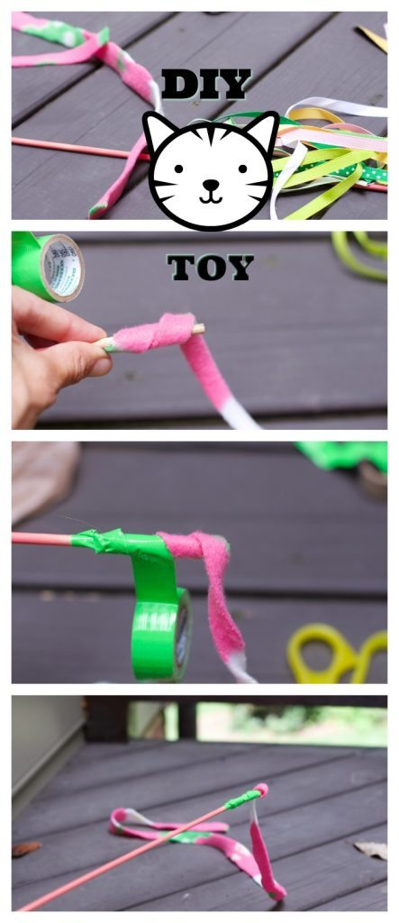 Make this super easy cat wand toy with stuff you have at home.