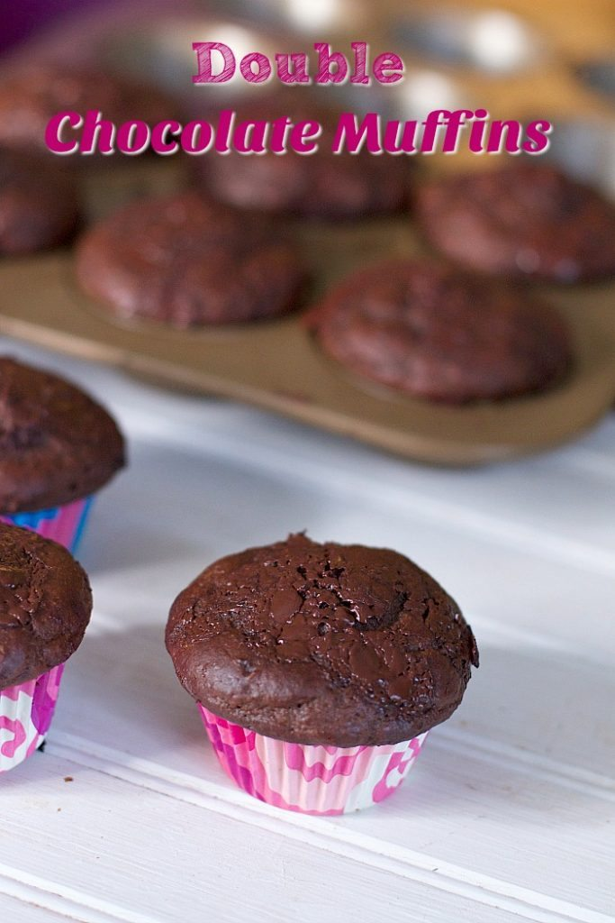 These Decadent Double Chocolate Muffins are a great back to school snack