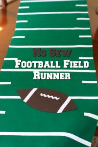Host a no cook football party with this no sew football field runner
