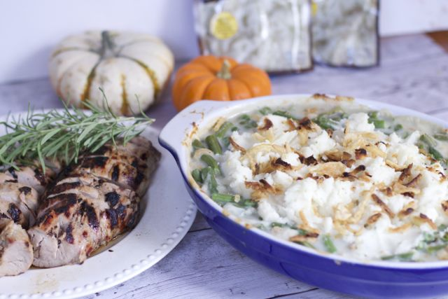 Easy Thanksgiving Side Dishes, Green bean casserole with mashed potato topping
