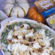 Green Bean Casserole with Mashed Potato Topping: Two Thanksgiving Side Dishes in One