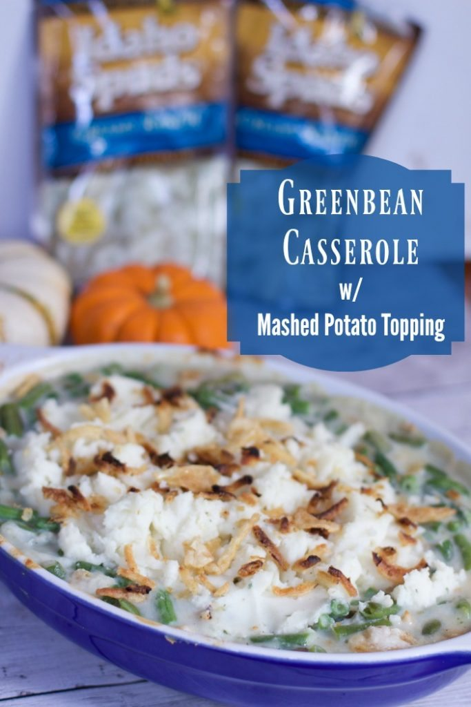 how to make green beans casserole with mashed potato topping