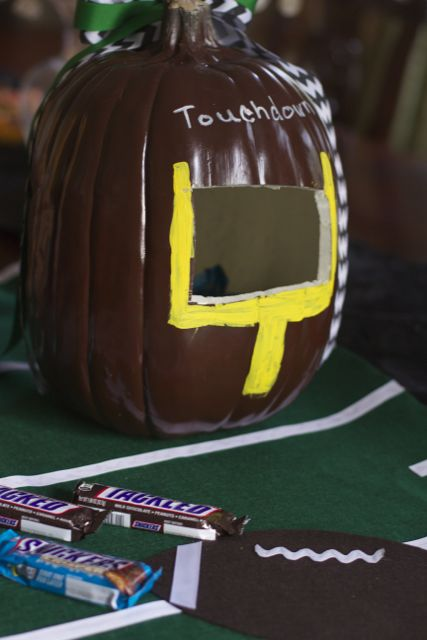 Game Day Decor: Pumpkin Football Candy Holder