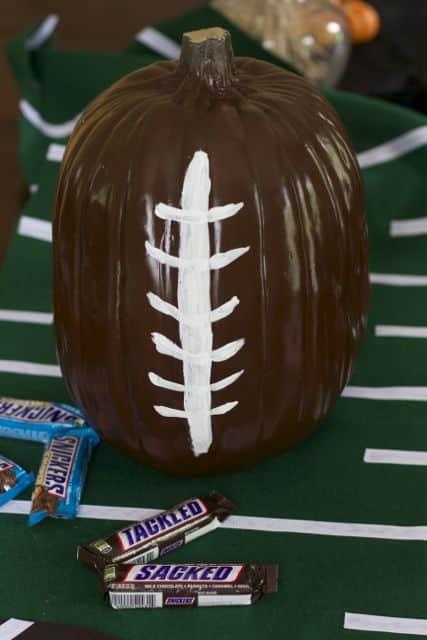 Game Day Decor: Pumpkin Football Candy Holder
