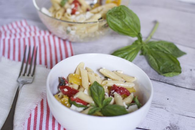 Mediterranean tricolor pepper pasta recipe
