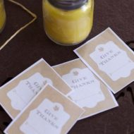 Thanksgiving Beeswax Candle Favors and Free Printable