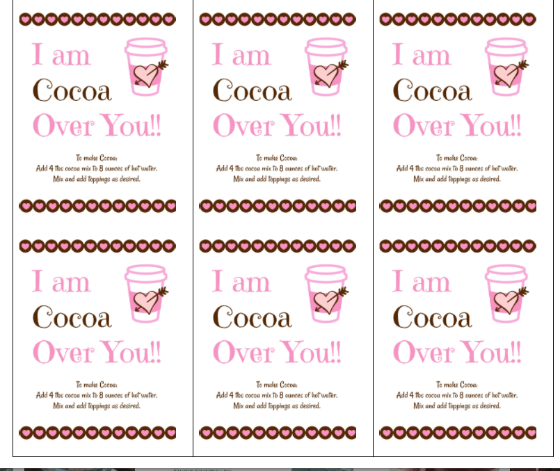 Valentines Printable for these awesome Cocoa Cones!!
