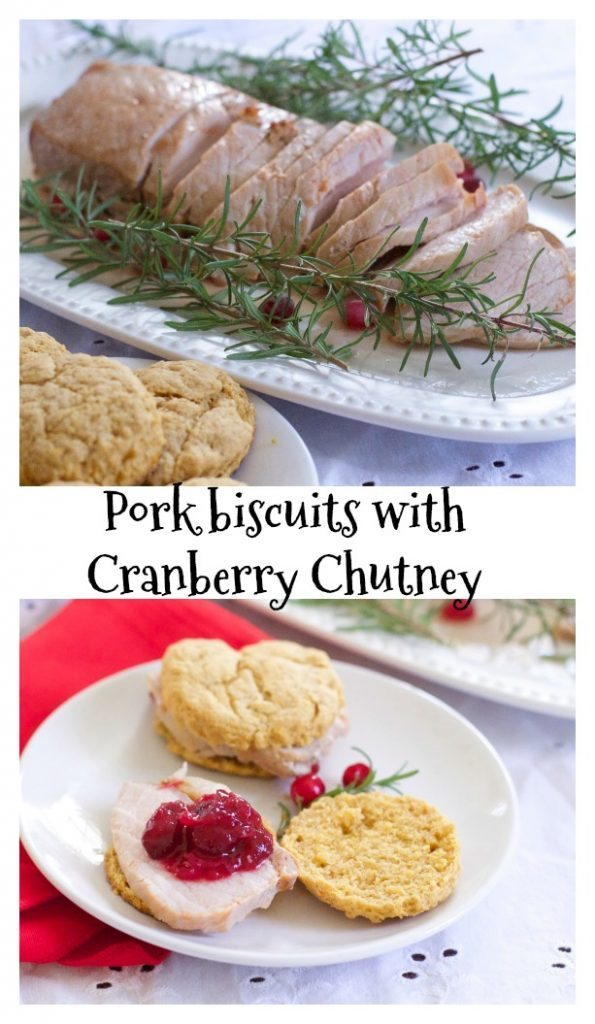 pork sandwiches with sweet potato biscuits and cranberry chutney