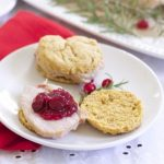 Sweet Potato Pork Biscuits with Cranberry Chutney