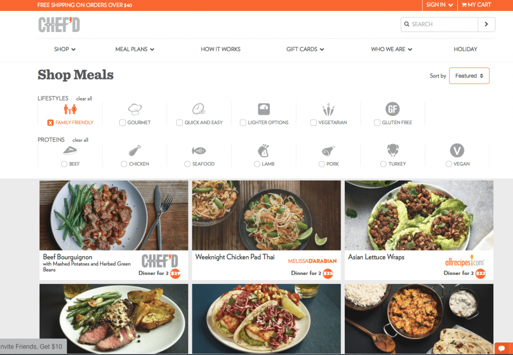 online meal kits from Chef'd