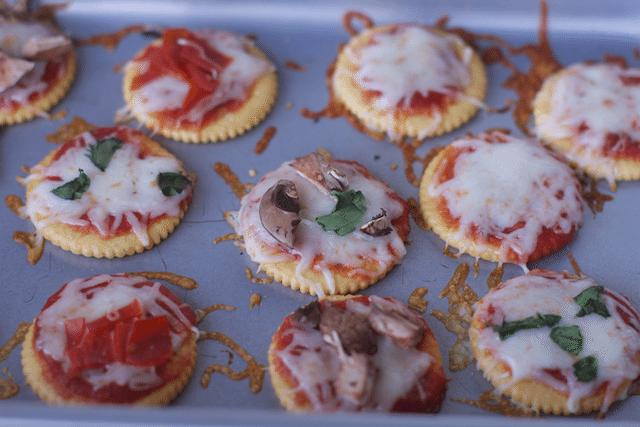 Mini Cracker Pizza Bites Buffet Idea