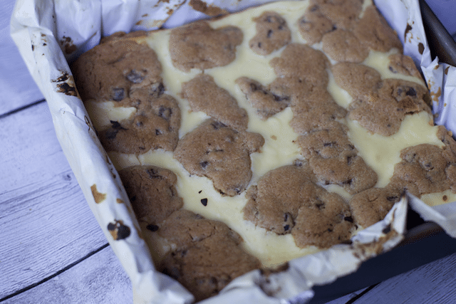 Four Ingredient Triple Chocolate Chip Cheesecake Bars
