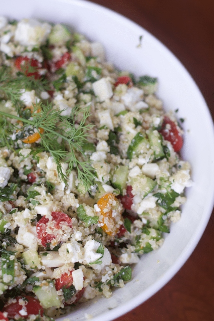 Greek Inspired Lunch Quinoa Tabbouleh Salad