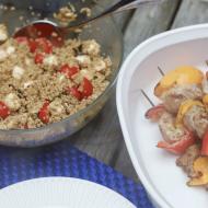 Super Easy Pork Kebabs and Caprese Quinoa Salad