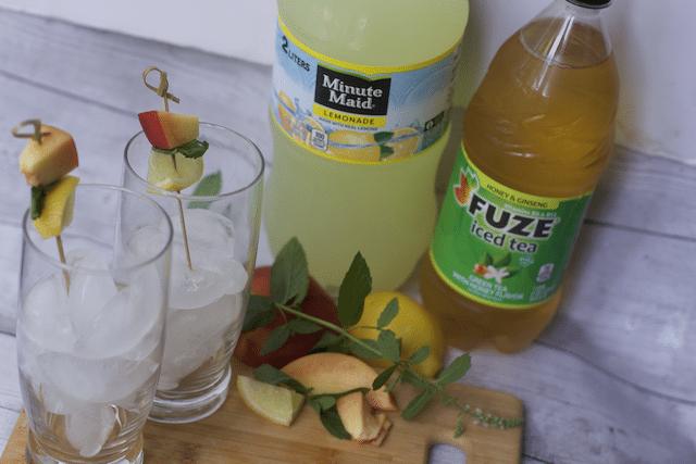 Melon and peach mozzarella salad drink