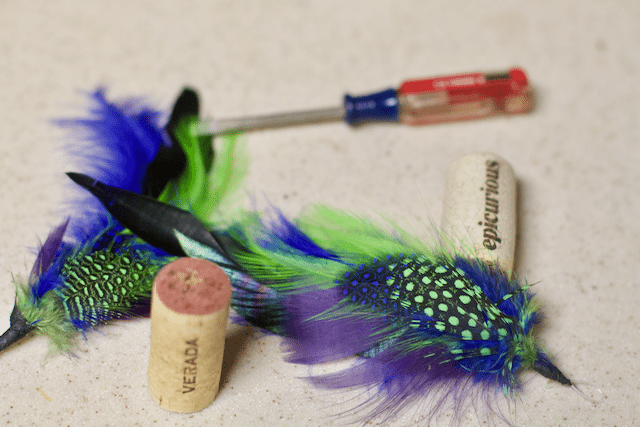 Inexpensive DIY Easy Feather Cork Cat Toys - Close To Home
