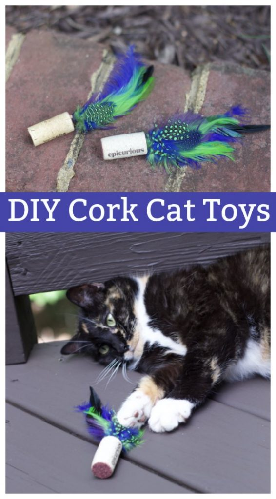 Inexpensive DIY Easy Feather Cork Cat Toys