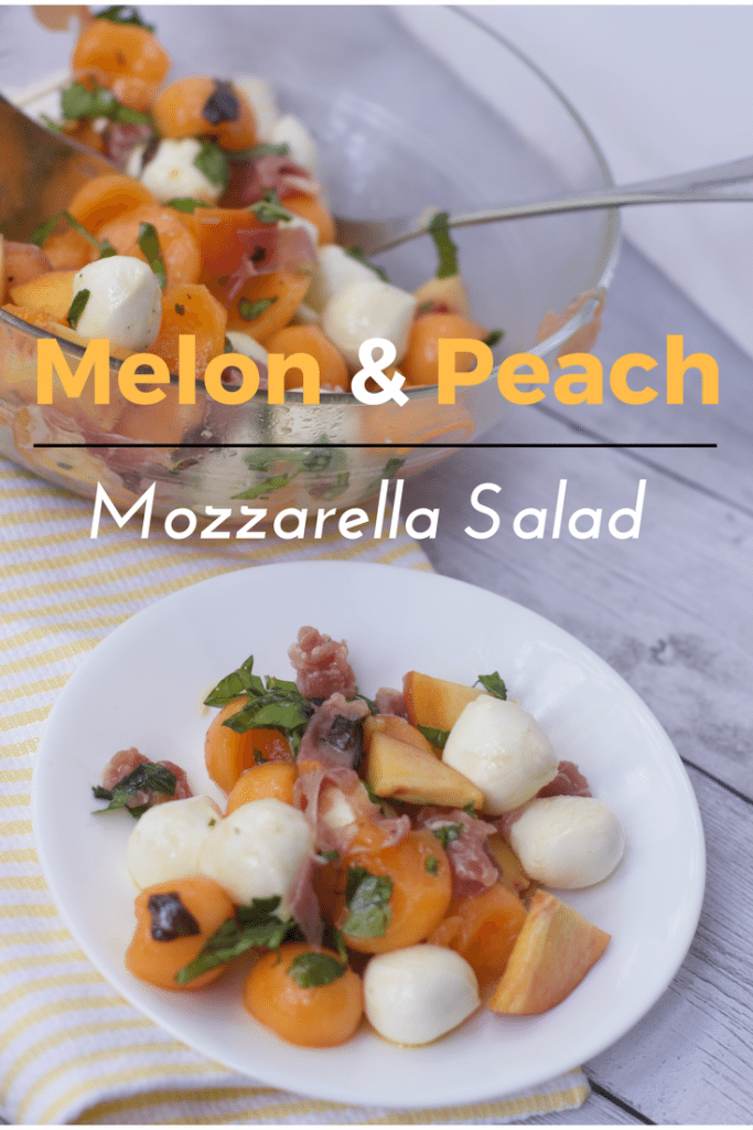Melon and peach mozzeralla salad