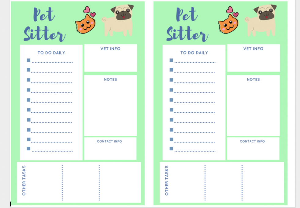 how to prepare your dog and cat sitter with a free pet sitter printable