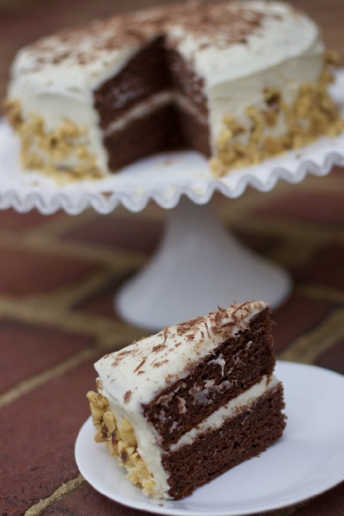 Sour Cream Chocolate Banana Cake  with Basic Cream Cheese Icing in a