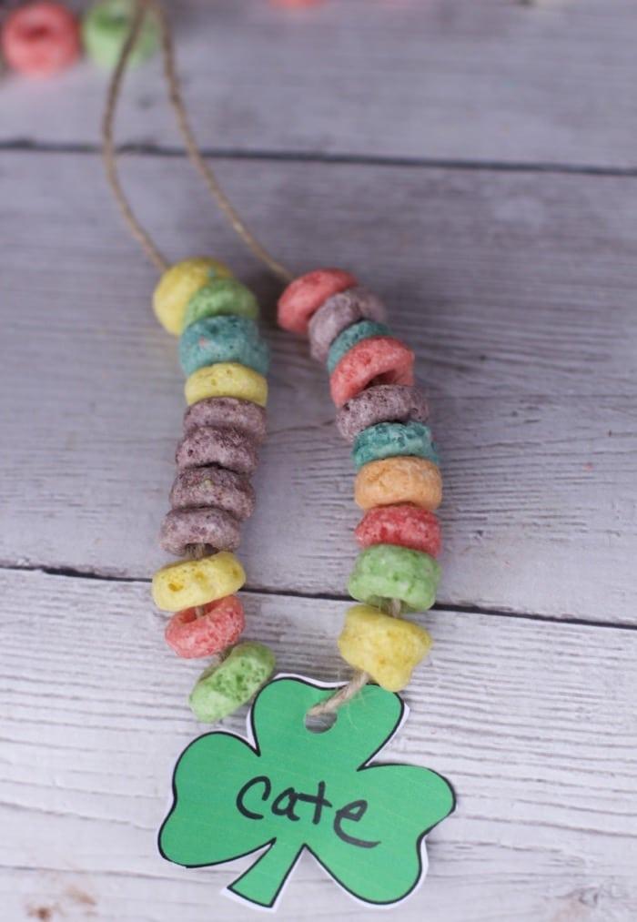 edible shamrock necklace for kids