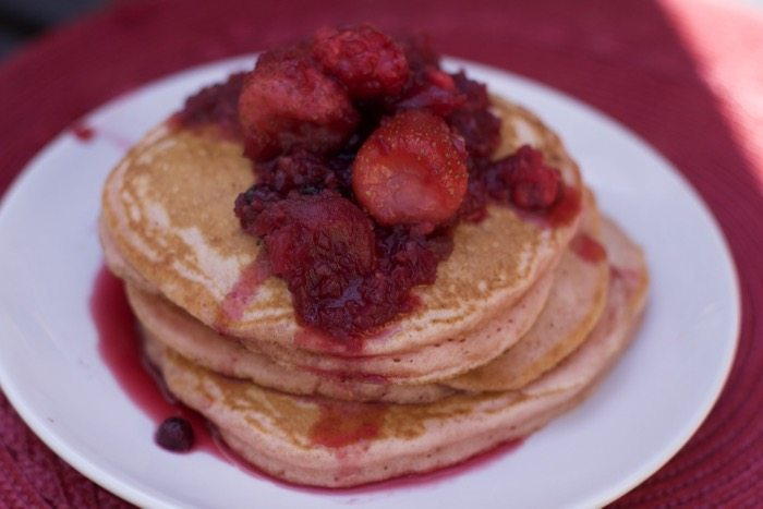How to Hide Veggies in Breakfast: Beet Pancakes with Beet Berry Syrup