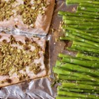 Roasted Pistachio crusted Salmon Sheet Pan Dinners