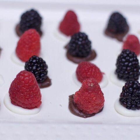 last minute dessert idea chocolate berry bites