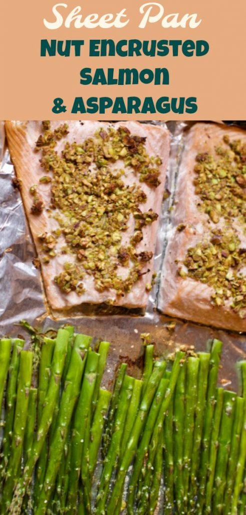 sheet nut encrusted salmon asparagus