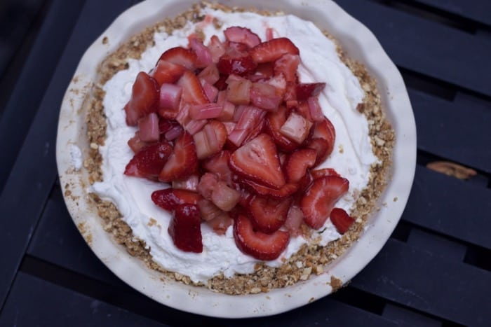 Strawberry Rhubarb Pretzel Pie Recipe- Easy Dessert for a Crowd