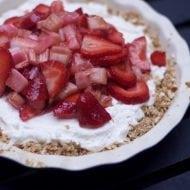 Strawberry Rhubarb Pretzel Pie Recipe- Easy Dessert for a Crowd