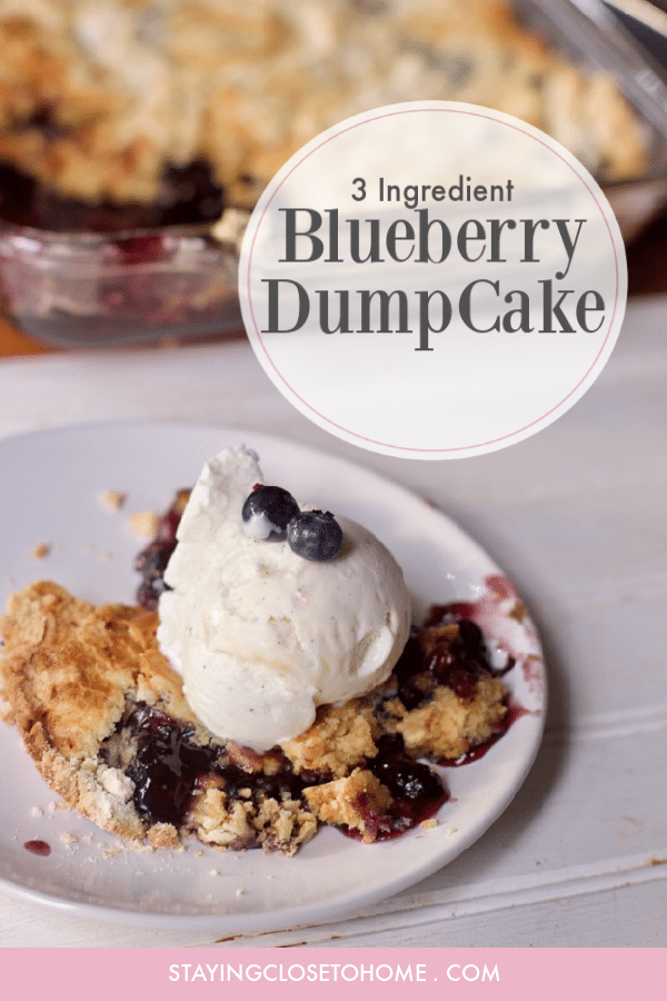 Keep the flavors of summer going into fall with this easy three ingredient blueberry dump cake recipe. Great dessert for a crowd.