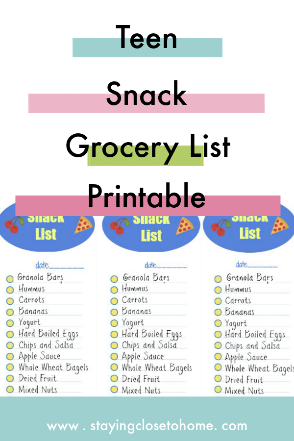Teen snack grocery list