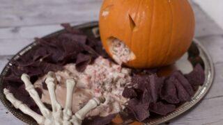 Spooky Halloween Dip Display (ROTEL Sausage Dip Recipe)