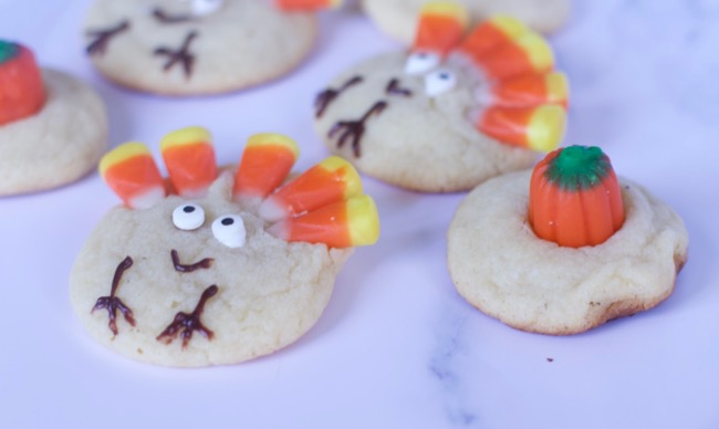 Sugar Cookie Turkeys with candy corn