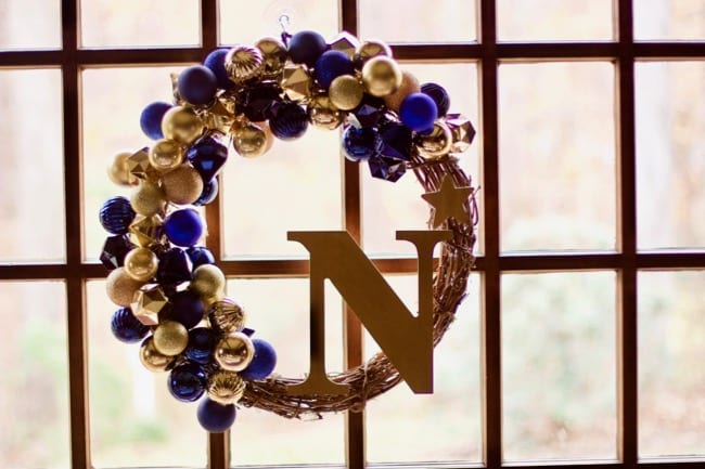 How to Make A Team Inspired Ornament Wreath (Army Navy Game)